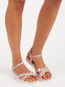 Růžové ploché sandály