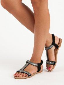 Elegantní černé sandály na gumičku
