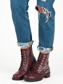 Skvělé vínové kotníkové boty vázané stužkou