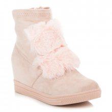 Elegantní světle růžové sneakery s kožíškem