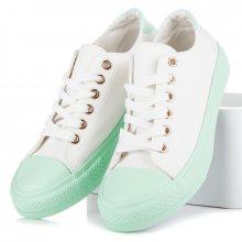 Bílé tenisky se zelenou podrážkou