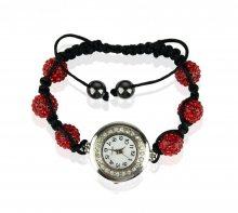 Náramek s hodinkami Shamballa LSB0018 červený - červený