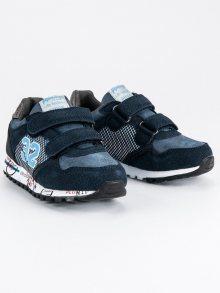 Stylové modré dětské botasky na suchý zip