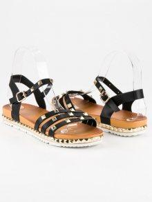 Rockové černé ploché sandály