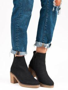 Podzimní černé kotníkové boty na podpatku