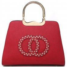 Módní červená kabelka s ozdobnými kruhy - červená