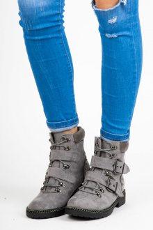 Originální šedé kotníkové boty s prezkami