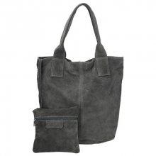 Dámská semišová kabelka s malou etuí v šedé barvě
