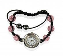 Náramek s hodinkami Shamballa LSB0018 růžový - růžový