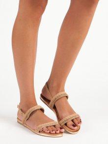 Semišové hnědé ploché sandály