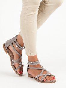 Jedinečné šedé sandály na zip