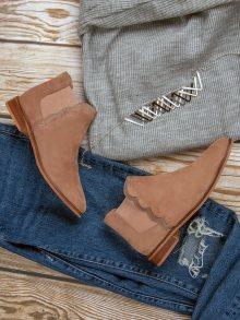 Kožené pudrové kotníkové boty