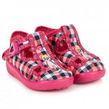 Dětské růžové kárované papuče s kočkou