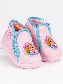 Dívčí růžové papuče na zip Tlapková Patrola