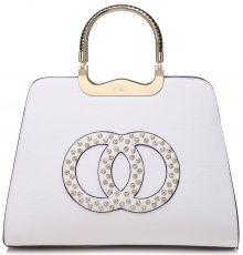 Módní bílá kabelka s ozdobnými kruhy - bílá