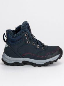 Zateplené modré dětské boty na zip