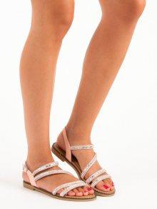 Stylové růžové sandály