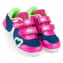 Brokátové růžovo modré dívčí boty na suchý zip