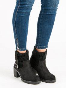 Stylové černé kotníkové boty na podpatku