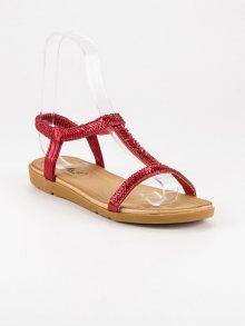 Červené sandály s gumičkou