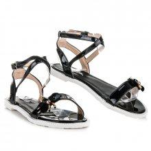 Lakované černé sandály s motýlkem
