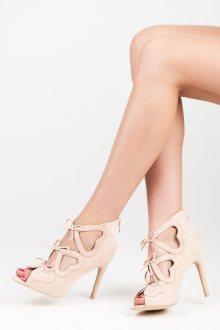 Dámské béžové semišové kotníkové sandály s mašličkami