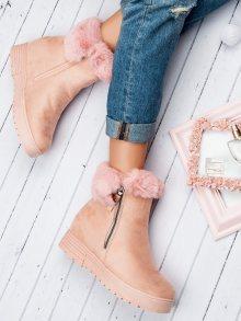 Dámské růžové kotníkové boty na klínku