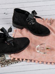 Luxusní černé semišové kotníkové boty