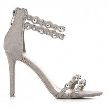 Parádní šedé sandály s ozdobami