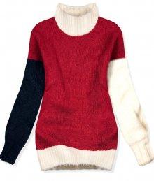 Červený oversized pulovr