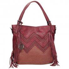 Krásná dámská kabelka se ozdobnými prvky v červené barvě