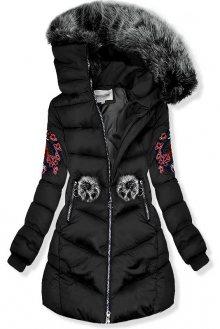 Černá zimní bunda s výšivkami