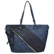 Dámská kabelka s ozdobným zipem na přední straně v granátové barvě