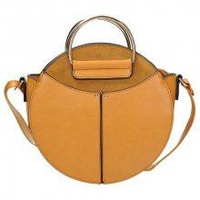 Velmi stylová kabelka s kovovými madly ve žluté barvě