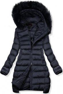 Tmavě modrá prodloužená zimní bunda
