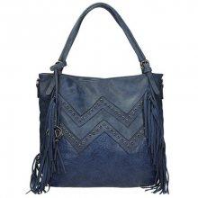 Krásná dámská kabelka se ozdobnými prvky v modré barvě