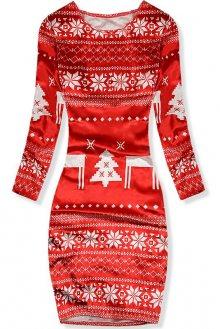 Červené sametové šaty se zimním motivem