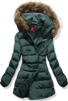 Zelená prošívaná bunda s odnímatelným límcem