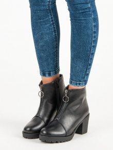 Klasické černé kotníkové boty s ozdobnými zipy