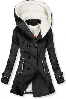 Zimní kabát s kožešinovou podšívkou grafit