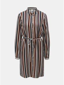 Vínovo-hnědé pruhované košilové šaty VILA Sommi