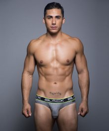 ANDREW CHRISTIAN pánské šedé slipy Black Collection Brief 90016
