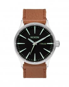 Nixon Sentry Leather Black/ Saddle