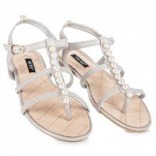 Stylové šedé sandály s korálky