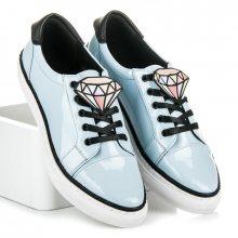 Luxusní modré lakované tenisky se zdobením ve tvaru diamantu