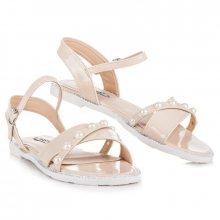 Ploché béžové sandály s perličkami