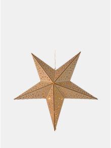 Světle hnědá LED dřevěná hvězda s motivem hvězdiček Kaemingk