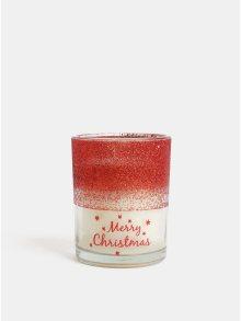 Krémovo-červená svíčka s vůní jablka a skořice v dárkovém balení SIFCON