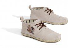 Toms pudrové kotníkové kožené tenisky Boty Floral Embroidery Leather Rope Sole - 40