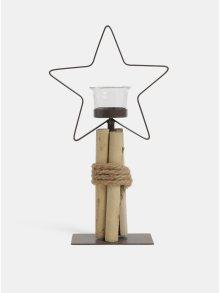 Hnědý kovový svícen ve tvaru hvězdy Kaemingk